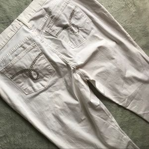NYDJ White Denim Stretch Jeans Crystal Embellished